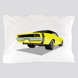 1968 Charger in Yellow with Black Top Pillow Case