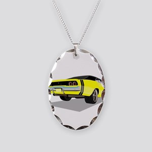 1968 Charger in Yellow with Bl Necklace Oval Charm