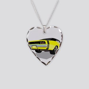 1968 Charger in Yellow with B Necklace Heart Charm