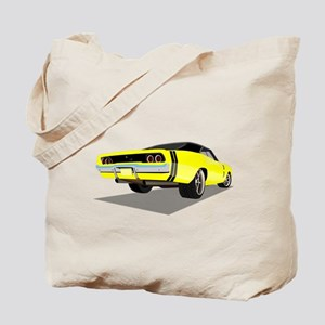 1968 Charger in Yellow with Black Top Tote Bag