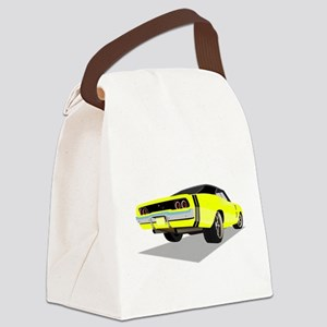 1968 Charger in Yellow with Black Canvas Lunch Bag