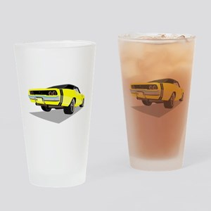 1968 Charger in Yellow with Black T Drinking Glass