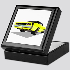 1968 Charger in Yellow with Black Top Keepsake Box