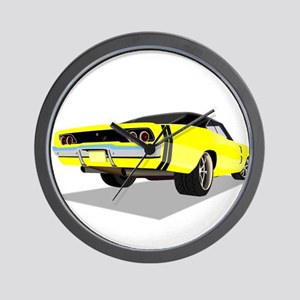 1968 Charger in Yellow with Black Top Wall Clock