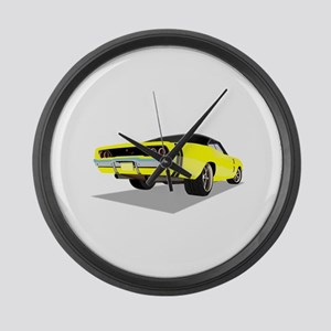 1968 Charger in Yellow with Black Large Wall Clock