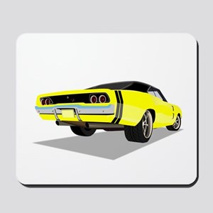 1968 Charger in Yellow with Black Top Mousepad