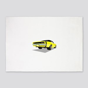 1968 Charger in Yellow with Black T 5'x7'Area Rug