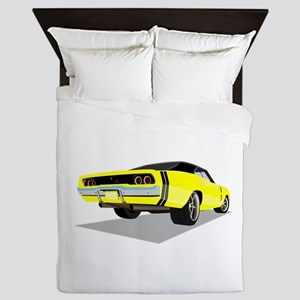 1968 Charger in Yellow with Black Top Queen Duvet