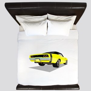 1968 Charger in Yellow with Black Top King Duvet