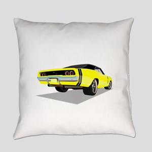 1968 Charger in Yellow with Black Everyday Pillow