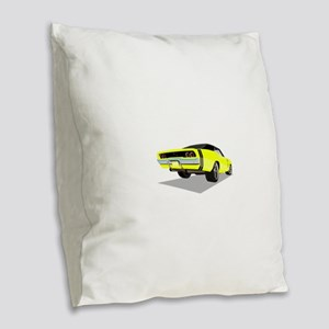 1968 Charger in Yellow with Bl Burlap Throw Pillow