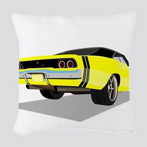 1968 Charger in Yellow with Bl Woven Throw Pillow