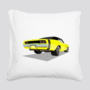 1968 Charger in Yellow with B Square Canvas Pillow