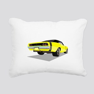 1968 Charger in Yellow w Rectangular Canvas Pillow