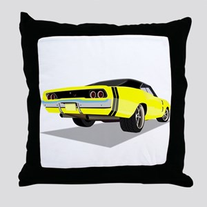 1968 Charger in Yellow with Black Top Throw Pillow