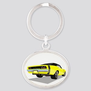 1968 Charger in Yellow with Black Top Keychains