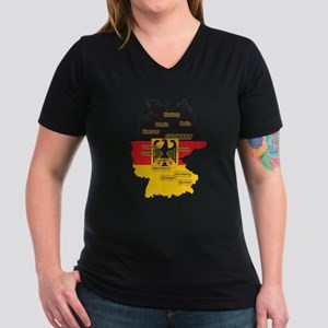 Germany Map Women's V-Neck Dark T-Shirt