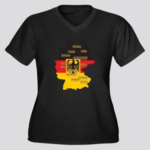 Germany Map Women's Plus Size V-Neck Dark T-Shirt