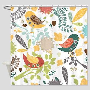 Woodland Birds Shower Curtain