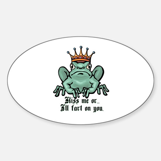 Kiss Me or I'll Fart Frog Oval Decal