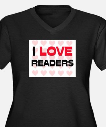 I LOVE READERS Women's Plus Size V-Neck Dark T-Shi