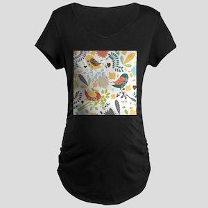 Woodland Birds Maternity Dark T-Shirt