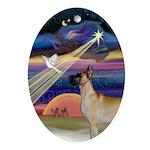 Fawn Great Dane & Christmas Star Oval Ornament
