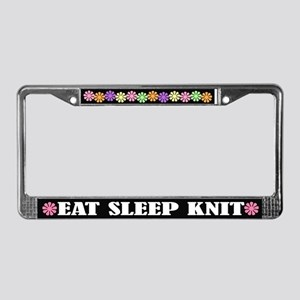 Eat Sleep Knit License Plate Frame