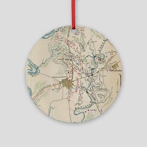 Vintage Map of Antietam Battlefield Round Ornament