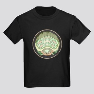 Green Turtle Hiding Kids Dark T-Shirt