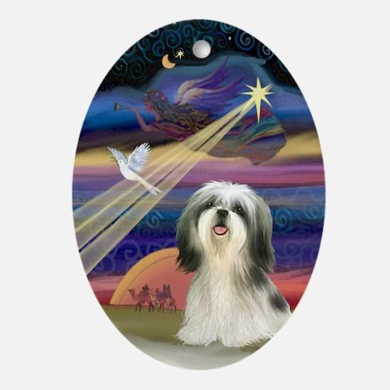 Christmas Star & Shih Tzu Oval Ornament