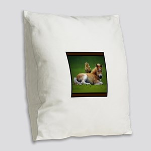 Colt with Owl Burlap Throw Pillow