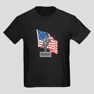 US Flag with Soldier Kids Dark T-Shirt