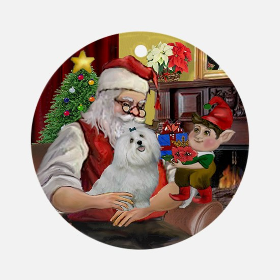 Santa's Maltese Ornament (Round)