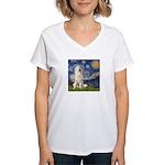 Starry Night / Pyrenees Women's V-Neck T-Shirt