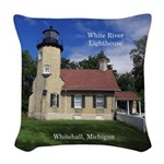 White River Lighthouse Woven Throw Pillow