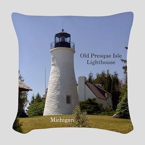 Old Presque Isle Lighthouse Woven Throw Pillow
