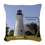 Old Presque Isle Lighthouse Woven Throw Pillow