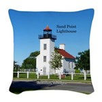 Sand Point Lighthouse Escanaba Woven Throw Pillow