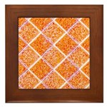 Orange Diamonds Framed Tile
