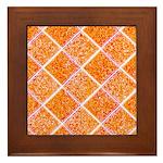 Orange Diamonds Framed Tile