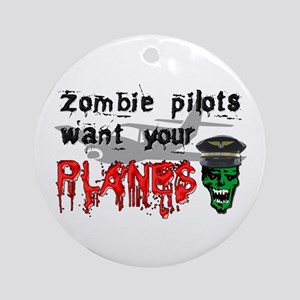 Zombie Pilot Ornament (Round)