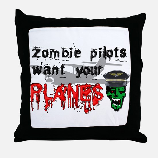Zombie Pilot Throw Pillow