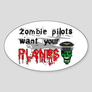 Zombie Pilot Oval Sticker