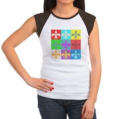 Pop Art Fleur De Lis Women's Cap Sleeve T-Shirt