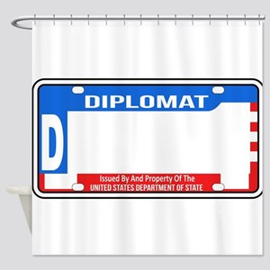 USA Diplomatic License Plate Blank Shower Curtain