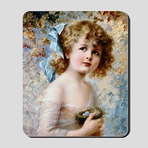 Girl Holding Nest Mousepad