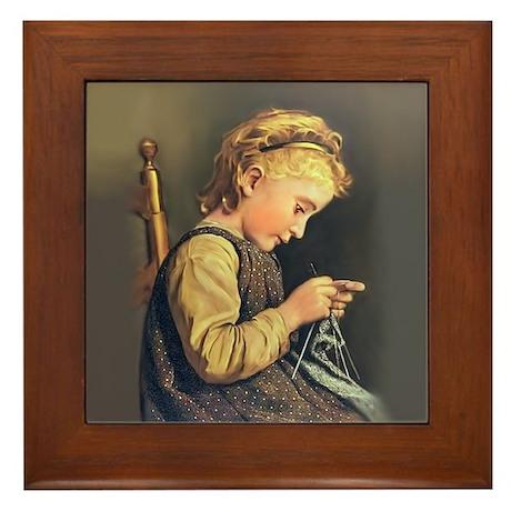 Young Girl Knitting Framed Tile