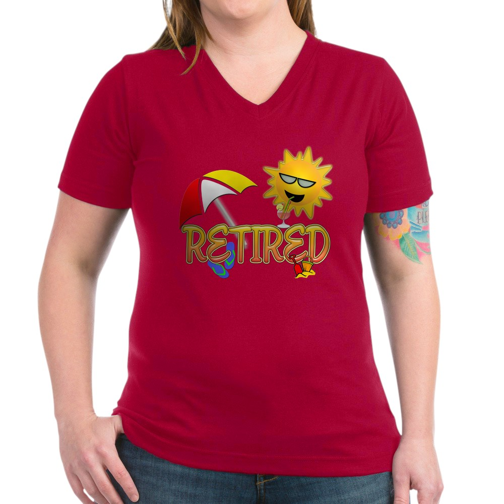 CafePress-Retired-Women-039-s-V-Neck-Dark-T-Shirt-V-Neck-T-Shirt-380506903 thumbnail 56