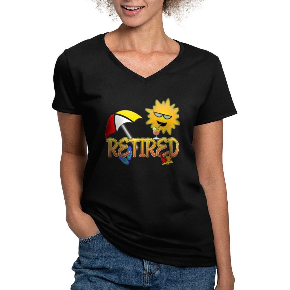 CafePress-Retired-Women-039-s-V-Neck-Dark-T-Shirt-V-Neck-T-Shirt-380506903 thumbnail 38